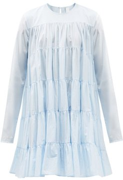 Soliman Tiered Cotton-voile Dress - Womens - Light Blue