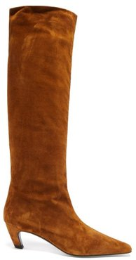 Davis Square-toe Suede Knee-high Boots - Womens - Tan