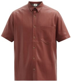 Adam Short-sleeved Faux-leather Shirt - Mens - Brown