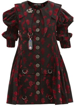 Puff-sleeve Flocked-floral Organic-cotton Dress - Womens - Black Red
