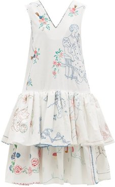 Embroidered Ruffle-hem Organic-cotton Dress - Womens - White