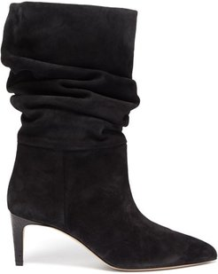 Slouchy Suede Boots - Womens - Black