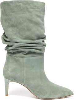 Slouchy Suede Boots - Womens - Khaki