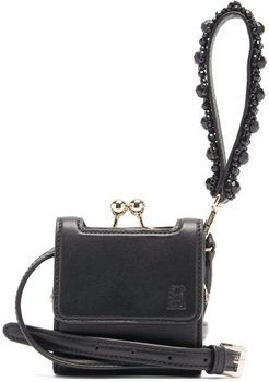 Beaded Mini Wristlet-strap Leather Bag - Womens - Black
