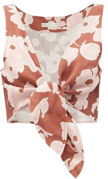 Lola Tie-front Floral-print Linen Cropped Top - Womens - Brown Print