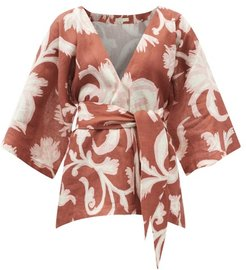 Carina Floral-print Linen Wrap Top - Womens - Brown Print