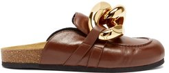 Chain Backless Leather Loafers - Womens - Brown