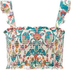 Tree Of Life Bianco-print Cotton-blend Cropped Top - Womens - Blue Multi