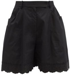 Floral-embroidered Scalloped Cotton-poplin Shorts - Womens - Black