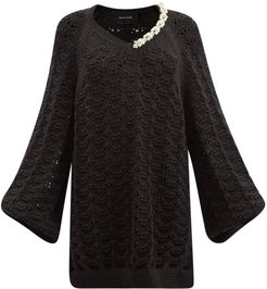 Pearl-embellished Pointelle Organic-cotton Sweater - Womens - Black