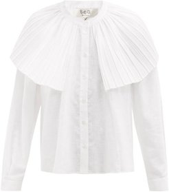 Bailey Broomstick Pleated Linen-blend Blouse - Womens - White