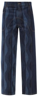 Wave-print Recycled-cotton Jeans - Mens - Navy