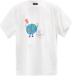 Love Earth Oversized Cotton-jersey T-shirt - Mens - White