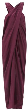 The Nyx Crossover Silk Crepe De Chine Dress - Womens - Purple