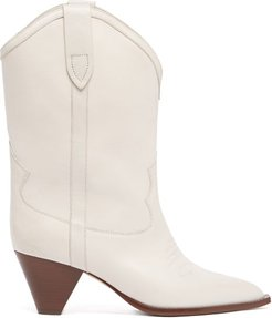 Luliette Cone-heel Leather Boots - Womens - White