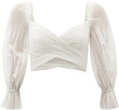 Balloon-sleeve Pleated Cropped Top - Womens - Ivory