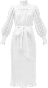 Luminous Embroidered Linen-voile Dress - Womens - White