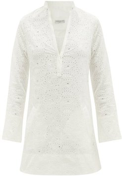 Verity Broderie-anglaise Mini Dress - Womens - White