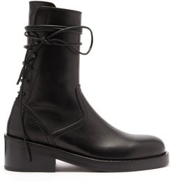Wraparound-lace Leather Boots - Womens - Black