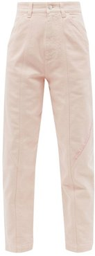 Logo-embroidered High-rise Tapered-leg Jeans - Womens - Light Pink
