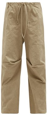 Lap Gathered Cotton Wide-leg Trousers - Womens - Beige