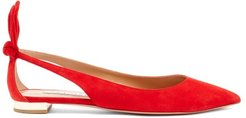 Bow Tie Cutout Leather Flats - Womens - Red