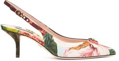 Patchwork Point-toe Slingback Pumps - Womens - Multi