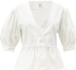 Martine Peplum Linen-blend Top - Womens - Ivory