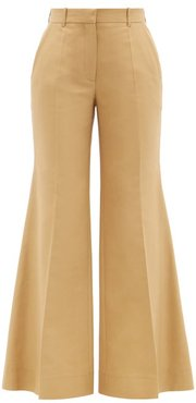 High-rise Cotton-blend Canvas Flared Trousers - Womens - Brown