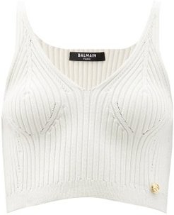 V-neck Rib-knitted Cropped Top - Womens - Cream