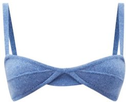 Eda Underwired Cashmere Bralette - Womens - Light Blue