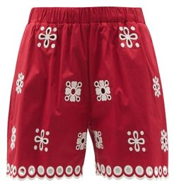 Broderie-anglaise Cotton-blend Shorts - Womens - Red White