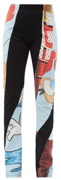 Ozzy High-rise Recycled-cotton Patchwork Leggings - Womens - Multi