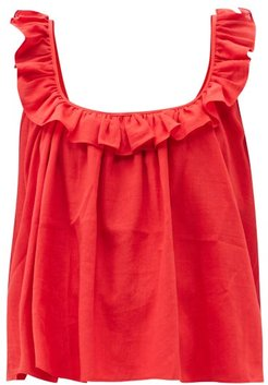 Tula Ruffled Cotton Top - Womens - Red