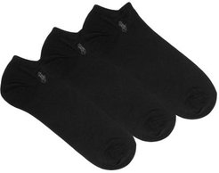 Pack Of Three Ghost Cotton-blend Ankle Socks - Mens - Black