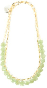 Heart-charm 24kt Gold-plated Choker Necklace - Womens - Green Multi