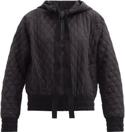 Hooded Diamond-quilted Shell Bomber Jacket - Womens - Black