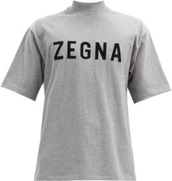 Oversized High-neck Cotton-jersey T-shirt - Mens - Grey
