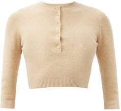 Ribbed Cotton-blend Cropped Top - Womens - Ivory