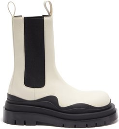 Tire Waved-sole Leather Boots - Mens - White Black