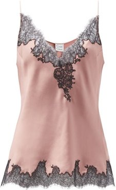 Chantilly-lace And Silk-satin Camisole - Womens - Light Brown
