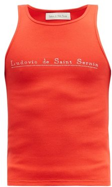Crystal-logo Cotton-blend Jersey Tank Top - Mens - Red