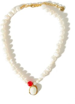 Medallion Pearl & 14kt Gold-plated Necklace - Womens - Red Multi