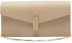 Iside Grained Leather Clutch - Womens - Beige