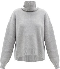 Cropped Displaced-sleeve Roll-neck Wool Sweater - Womens - Light Grey