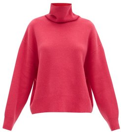 Cropped Displaced-sleeve Roll-neck Wool Sweater - Womens - Raspberry