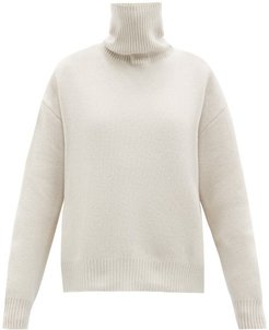 Cropped Displaced-sleeve Roll-neck Wool Sweater - Womens - Light Pink