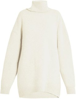 Displaced-sleeve Roll-neck Wool Sweater - Womens - Ivory