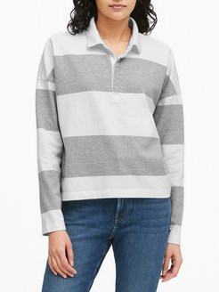 Cropped Rugby Stripe Polo Shirt