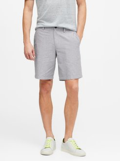 "9"" Slim Linen-Cotton Short"
